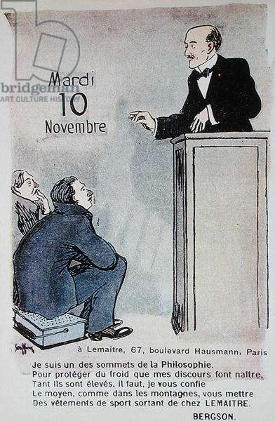 Calendar for 1914 advertising sports clothes with a caricature of the French philosopher Henri Bergson (1859-1941), 1914 (colour litho)