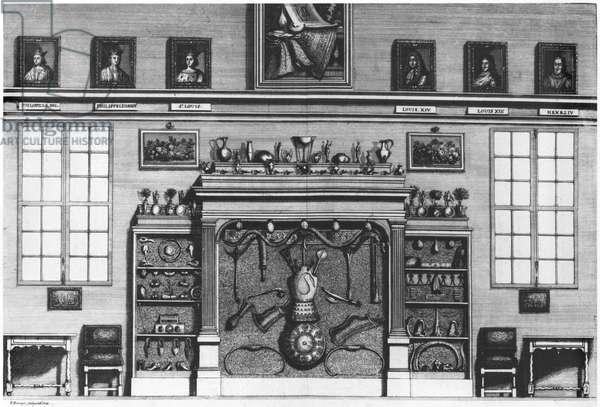 Illustration from 'Cabinet de la Bibliotheque Sainte-Genevieve' by Reverend Pere Claude Du Molinet (1620-87) 1692 (engraving) (b/w photo)