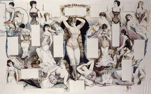 Layout illustrations for an article on women's underwear, from 'La Vie Parisienne', c.1870 (coloured engraving)