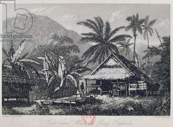 View near Matavai Bay, Otaheite, engraved by Lieutenant Colonel Batty, from an account of the voyage of HMS Bounty by John Barrow, 1835 (engraving)