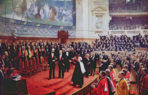 The Jubilee of Louis Pasteur (1822-95) at the Sorbonne, 27th December 1892, from 'Chanteclair', 1923 (colour litho)