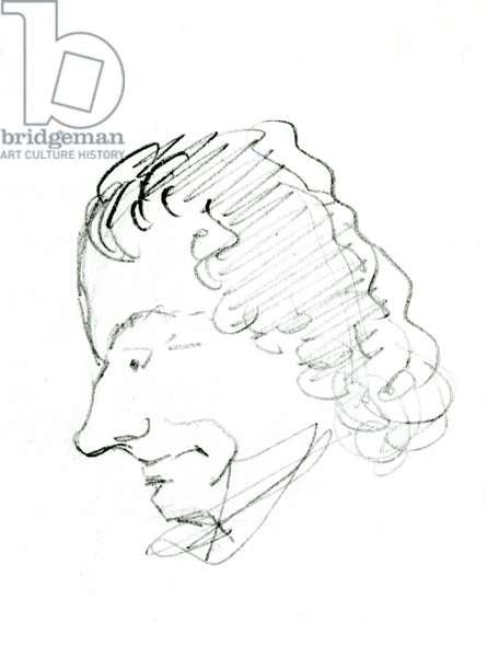 Self Portrait, c. 1843 (pencil on paper) (b/w photo)