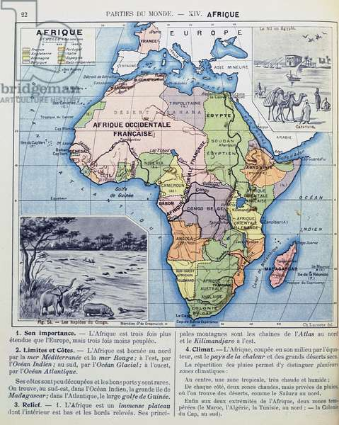 Map of Colonial Africa, from a school book, published in 1911 (colour litho)