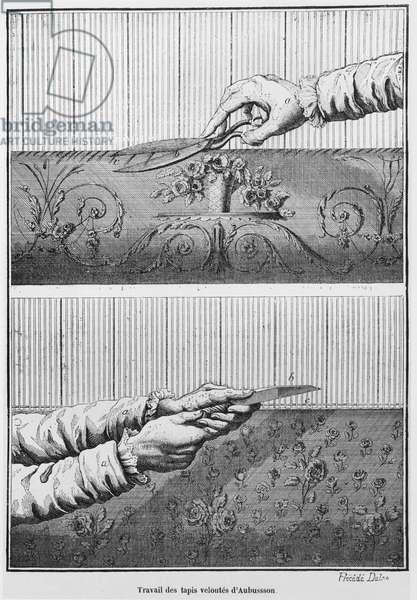 Working on velvet Aubusson tapestries (engraving) (b/w photo)