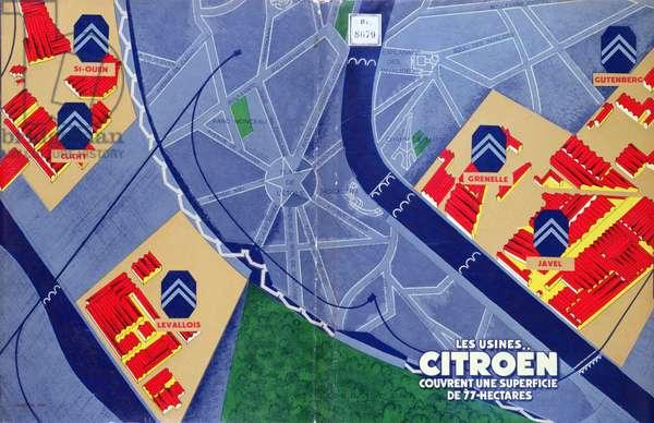 Publicity Brochure for the Citroen Factories in Paris, 1929 (colour litho)