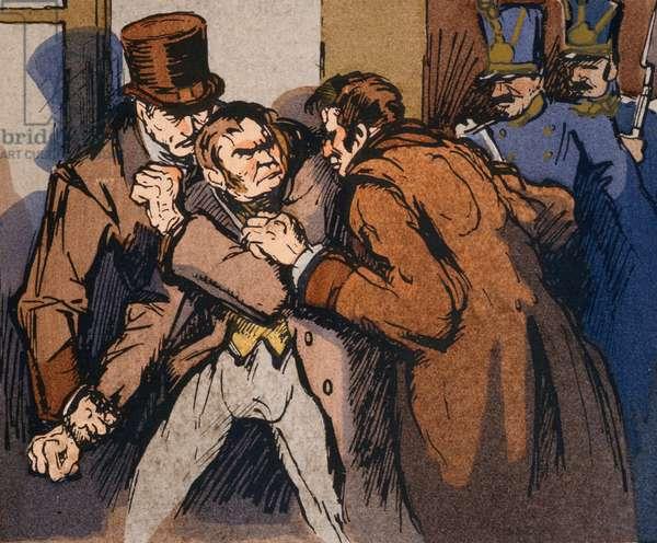 'The Arrest of Vautrin', illustration for 'Splendeurs et Miseres des Courtisanes' by Honore de Balzac, 1922 (colour litho)