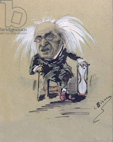 Caricature of Michel-Eugene Chevreul (1786-1889) c.1885-89 (pen & ink and gouache on paper)