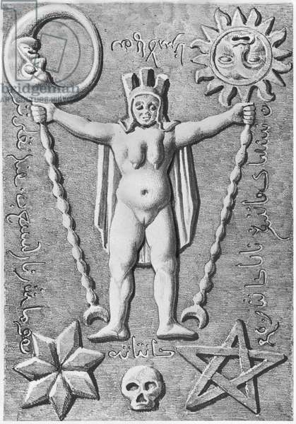 The Baphomet of the Templars, copy of an stone casket found at Essarois (Burgundy) (litho) (b/w photo)