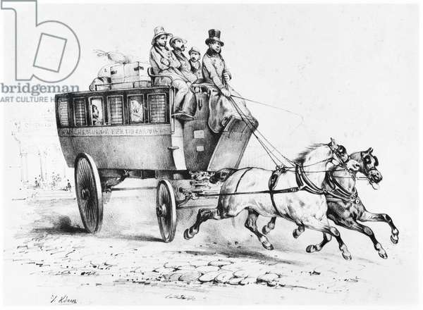 The Stagecoach, mid-19th century (litho) (b/w photo)