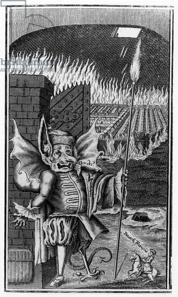 A Devil guarding a city in flames, c. 1755 (engraving) (b/w photo)
