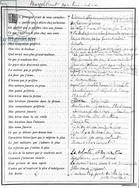 Questionnaire completed by Marcel Proust, 1890 (pen, ink and printed paper)