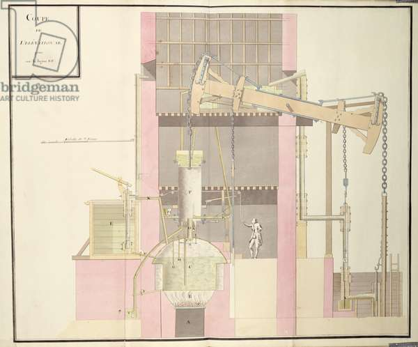 Cross-section of a steam machine to extract water from mines, c.1760 (pen & ink and w/c on paper)