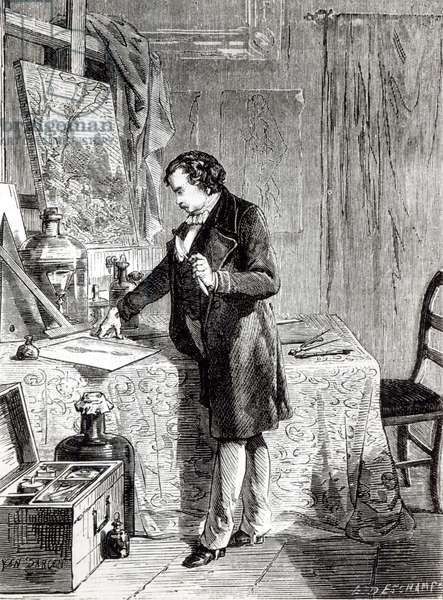 Daguerre discovers the light sensitivity of silver iodide in 1831 (engraving) (b/w photo)