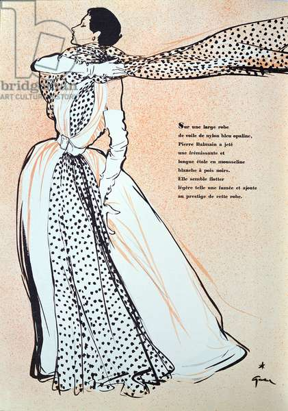 Design for a dress by Pierre Balmain, from the spring collection, from 'L'Officiel de la Couture et de la Mode de Paris', March 1953 (colour litho)