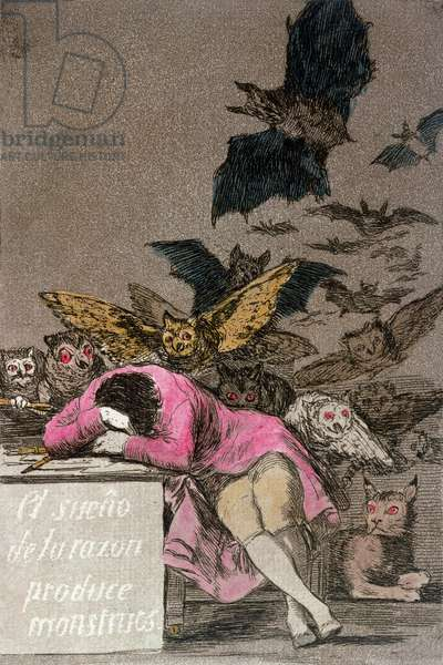 The Sleep of Reason Produces Monsters, plate 43 of 'Los Caprichos', published c.1810 (colour engraving)