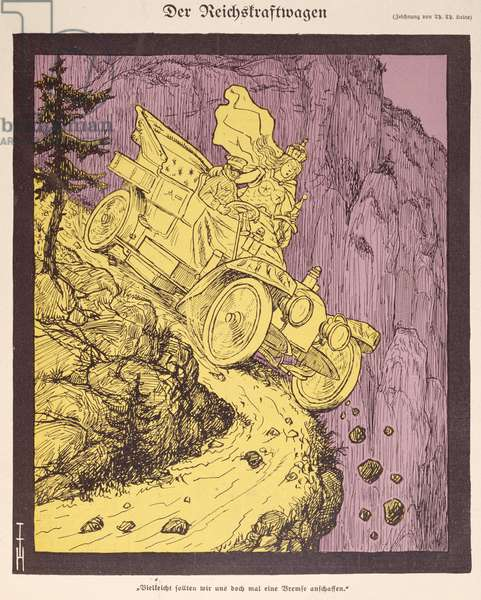 The Car of the German Empire driven by Wilhelm II (1859-1941) illustration from the cover of 'Simplicissimus' 1907 (colour litho)