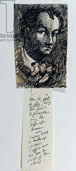 Self Portrait with Inscription (pen & ink and gouache on paper)