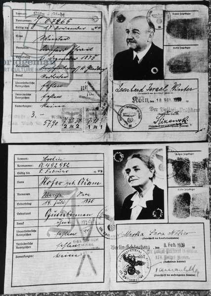 German Identity Cards for Jews, 1939 (pen & ink on paper) (b/w photo)