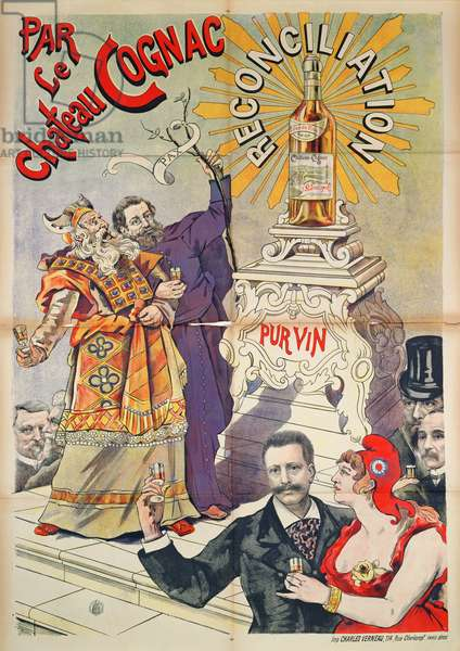 Poster advertising Cognac as a promoter of reconciliation, 1890-95 (colour litho)