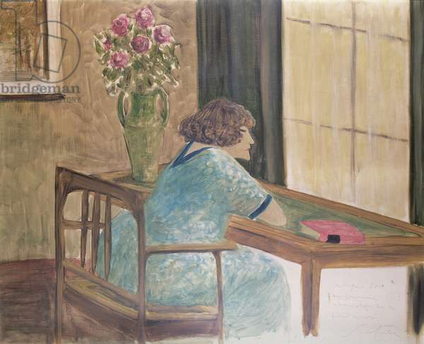 Colette seated at her desk (gouache on paper)