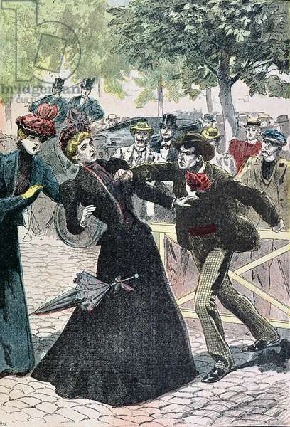 The Assassination of Elizabeth (1837-98) Empress of Austria by Luccheni, 10th September 1898, illustration from 'Le Pelerin', 1898 (colour engraving)