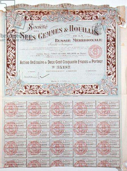Share certificate for 250 francs for the 'Societe des Sels, Gemmes et Houilles' of Western Russia, 1911 (colour litho)