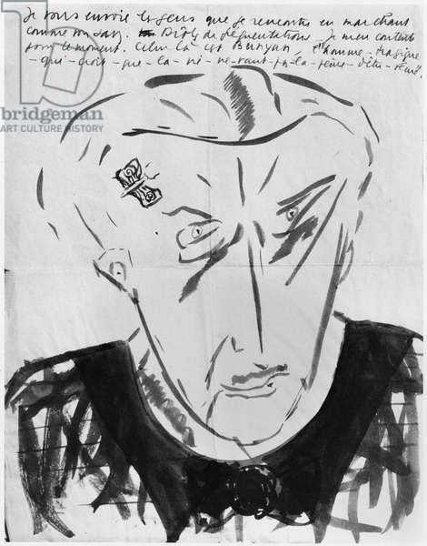 Portrait of Bunyan, c.1935-36 (w/c on paper) (b/w photo)