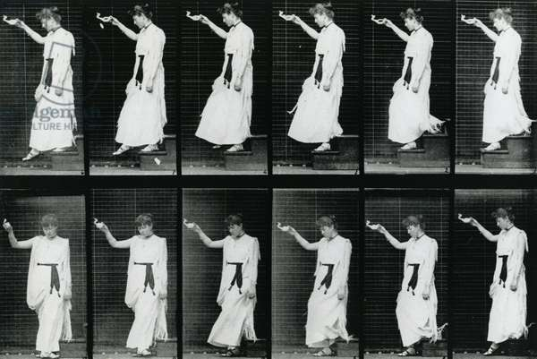 Woman. Descending a Stairway, 1887, illustration from 'The Human Figure in Motion' by Eadweard Muybridge, edition published 1904 (b/w photo)