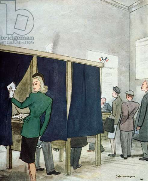 The First Women's Vote, from 'Femina', 1946 (colour litho)