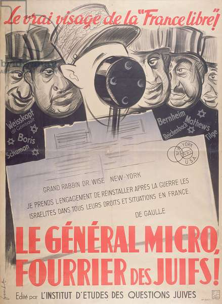 General Micro, Harbinger of the Jews, poster by the l'Institut d'Etudes des Questions Juives, November 1941 (colour litho)