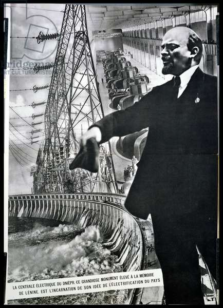 The hydro-electric dam at Dnieper, illustration from 'L'URSS en construction', March 1934 (lithograph)