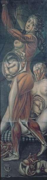 Anatomical study of two pregnant women (mezzotint)