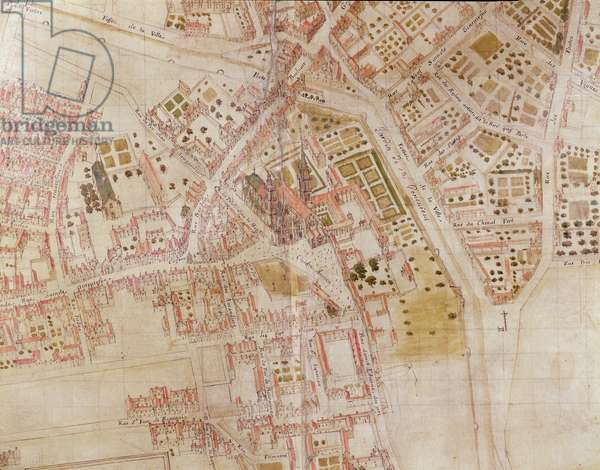 Detail of a Map of Paris showing the summit of Montagne Sainte-Genevieve, 1664 (pen & ink and w/c)