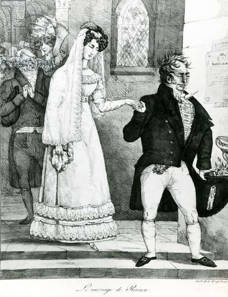 The Marriage of Convenience, 1822 (litho) (b/w photo)