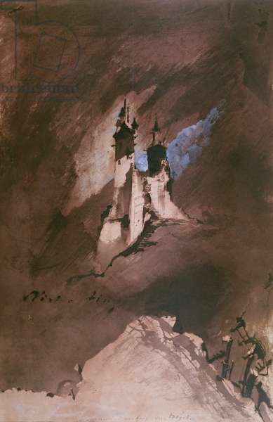 Memory of a Castle in the Vosges, 1857 (pen & ink, wash and gouache on paper)