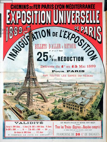 Poster advertising reduced price train tickets to the Exposition Universelle of 1889, from the Chemins de Fer Paris-Lyon-Mediterranee (colour litho)