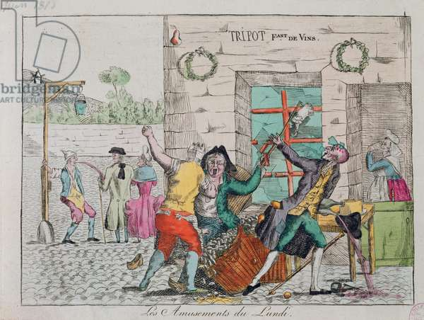 Monday's amusements at a drinking dive, early 19th century (colour litho)