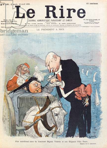 Queen Victoria (1819-1901) flirts with President Felix Faure (1841-99) while on her holiday in Nice, cover of 'Le Rire' magazine, 23rd April 1898 (colour litho)