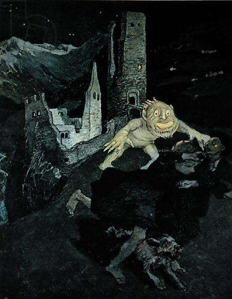 The Ghost of the Castle, from 'Jugend', Munich, c. 1900 (colour litho)