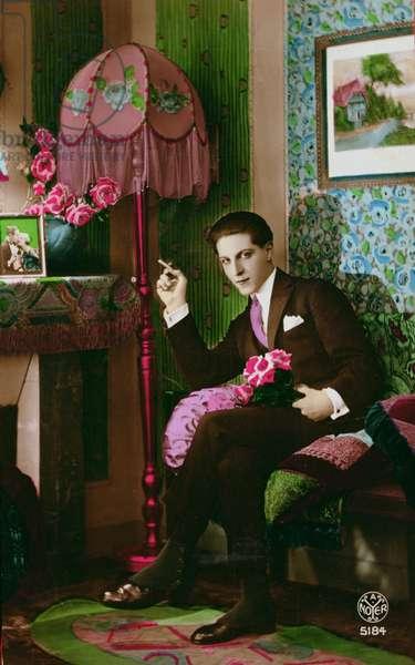 Postcard depicting an elegant young man, c.1930 (coloured photo)