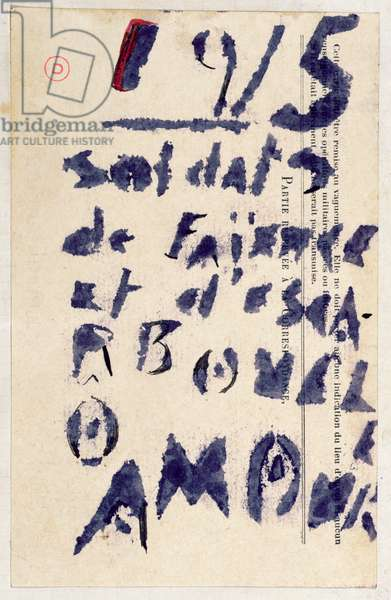 'Soldiers of clay...', poem from the 'Case d'Armons' poetry anthology, 1915 (stencil and ink on paper)