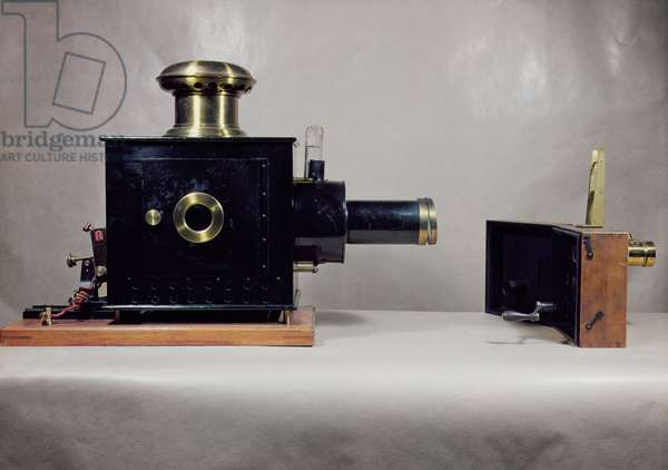 View of one of the first cinema projectors, manufactured by August (1862-1954) and Louis Lumiere (1864-1948) (photo)