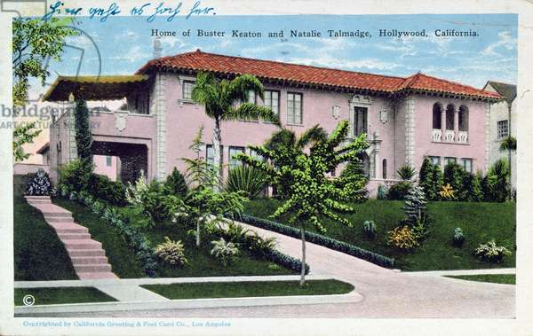 Home of Buster Keaton and Natalie Talmadge in Hollywood, 1930 (colour litho)