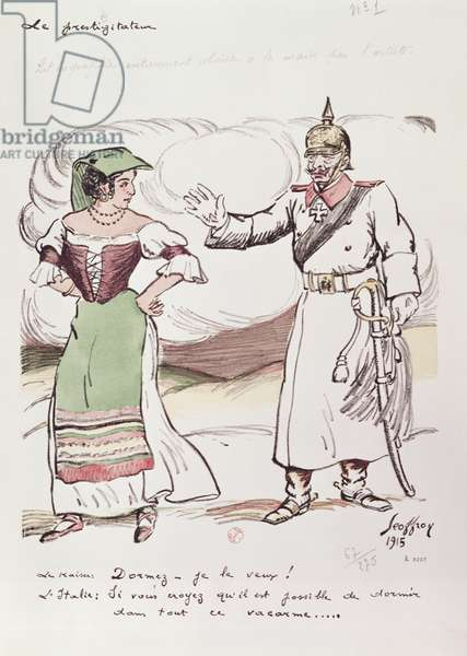 Kaiser Wilhelm II (1859-1941) attempts to put Italy to sleep in order to prevent her entering the First World War, 1915 (colour litho)