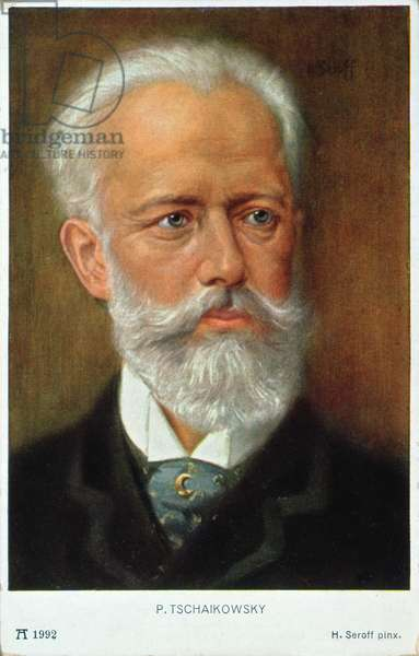Postcard of Piotr Ilyich Tchaikovsky (1840-93) (colour litho)