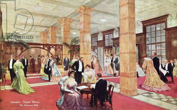The Entrance Hall, Savoy Hotel, London (colour litho)