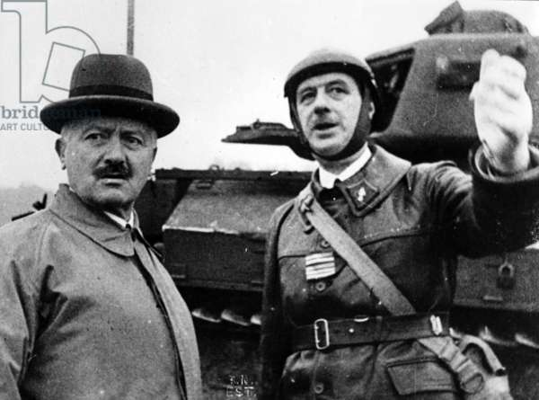 President Lebrun on a visit of inspection of Colonel de Gaulle's tank unit at Goetzenbruck, 23 October, 1939 (b/w photo)