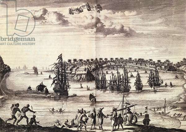 View of the harbour and town of Galle, published in Amsterdam 1676 (litho)