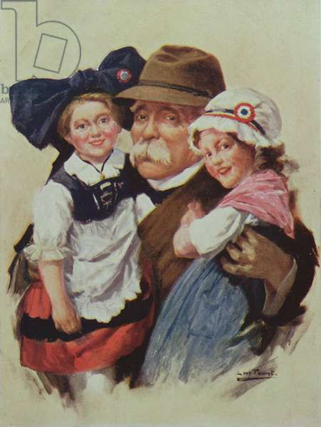 Postcard depicting Clemenceau embracing Alsace and Lorraine on their return to France after the 1st World War, c.1918 (colour litho)