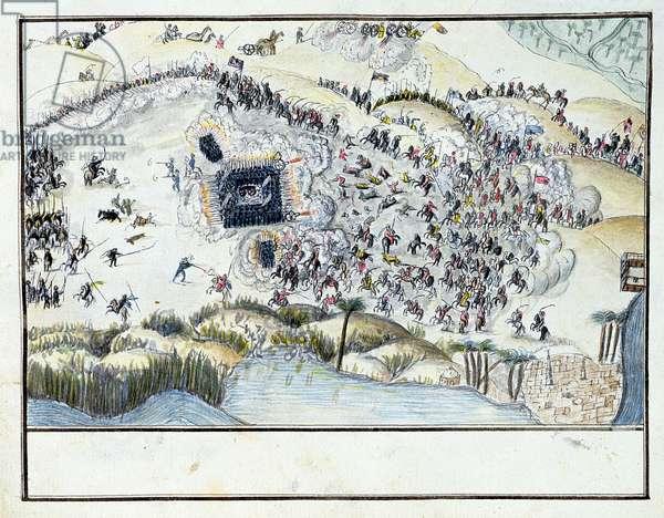 Ms.1688, Desert Battle during Bonaparte's Egyptian Campaign, 1798 (w/c on paper)